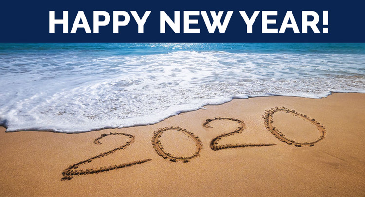 Happy New Year! This photo depicts a beach overlooking the ocean. 2020 is handwritten in the sand.