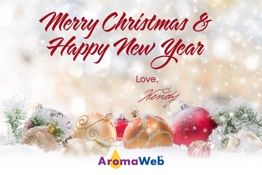 Season's Greetings Card from AromaWeb (the greeting is shown below)