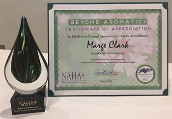 Outstanding Contributor Award Given by the National Association of Holistic Aromatherapy