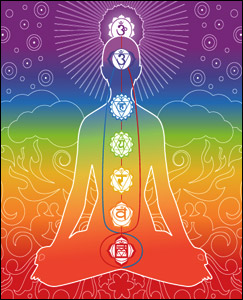 The seven chakras aligned along the spine.