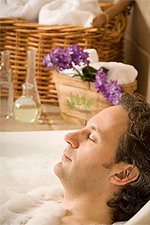 Man Taking Aromatic Bath